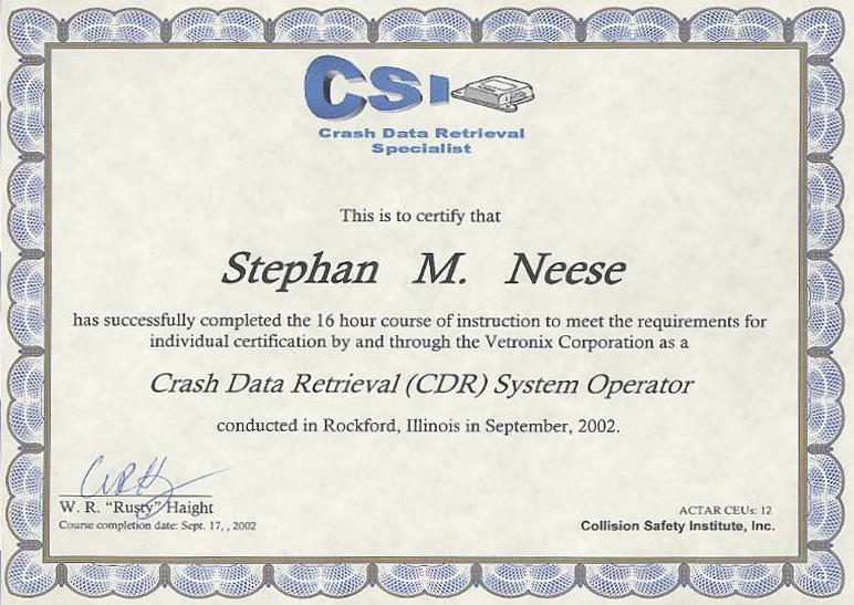 CRASH DATA RETRIEVAL (CDR) CERTIFICATION SYSTEM OPERATOR | Stephan ...